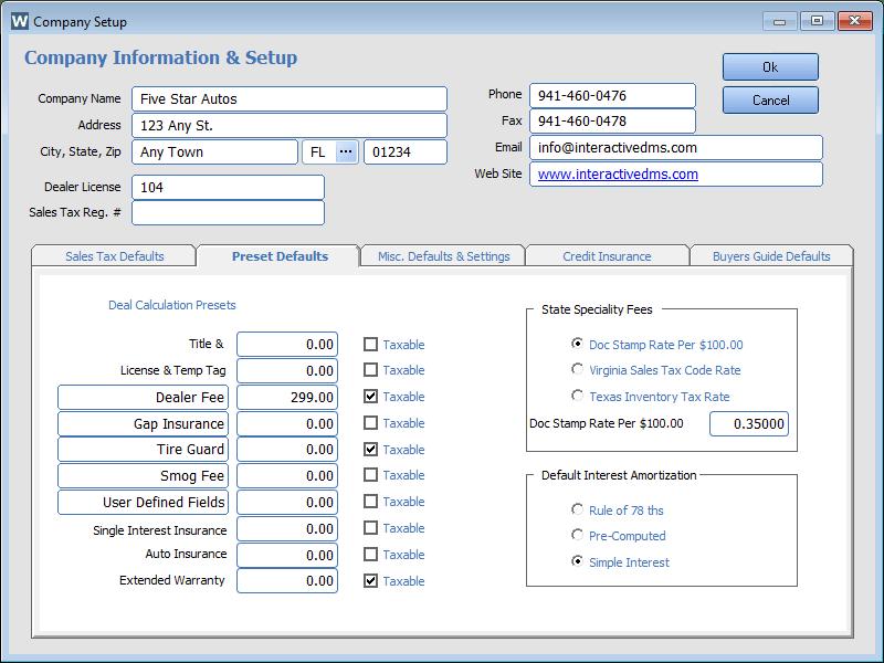 Easy Configuration Company Setup