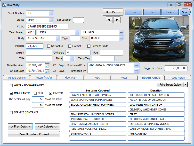 Used Car Inventory Management